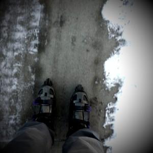 Winter Rollerblading, self-portrait