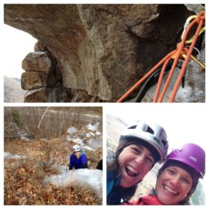 Janet Wilkenson and Majka Burhardt out getting any winter they can, Crawford Notch, NH